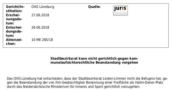 OVG Lüneburg Entscheidung gegen Bezirksrat Linden-Limmer bzgl. Halim-Dener-Platz